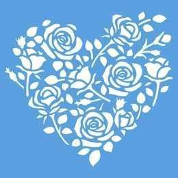 Stencil de Acetato Litoarte 10x10cm - STX373 - Coração de Rosas