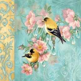 Guardanapo Pássaros sobre Galhos de Flores Rosas, Fundo Turquesa, Barrado Amarelo (388)