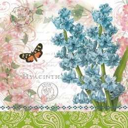 Guardanapo Flores Azuis Fundo Branco C/Escritos Barrado Verde (524)ito