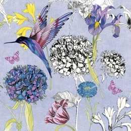 Guardanapo Flores com Beija Flor Fundo Azul (326)
