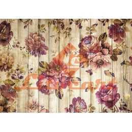 Papel para Decoupage LD903 - Buquê de Flores na Madeira Rústica