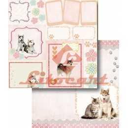 Folha para Scrapbook Dupla Face - LSCD421 - Cachorro e Gato