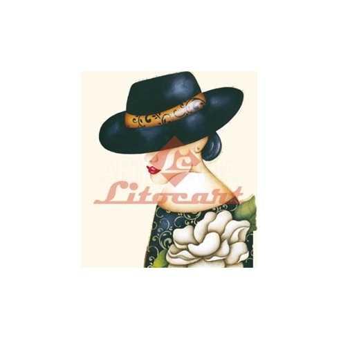Aplique em Papel e MDF - LMAPC204 - Moça de Chapéu