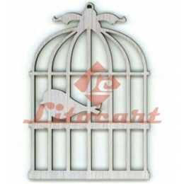 Aplique em Papel e MDF - LMAPC136 - Gaiola com Pássaro