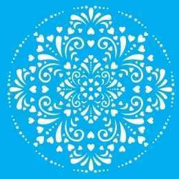 Stencil de Acetato Litocart 25x25cm - LSPQ010 - Mandala Corações