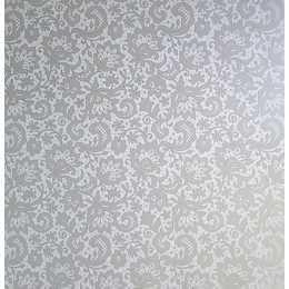 Folha para Scrapbook Perolizado LSCPL025 - Flores/Arabesco Prata