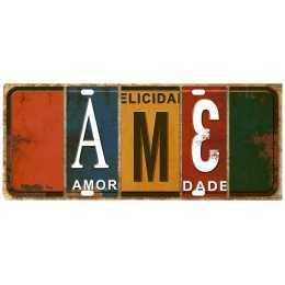 Aplique em Papel e MDF - APM8 - 1159 - Placa Ame