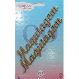 Aplique em MDF - Palavra - Maquiagem - 13x2cm
