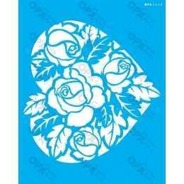 Stencil de Acetato OPA 20x25cm - OPA 2630 - Coração Rosas