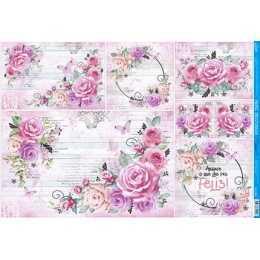Papel para Decoupage PD1008 - Rosas Cor de Rosa