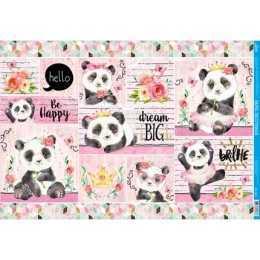 Papel para Decoupage PD1021 - Panda Fundo Rosa