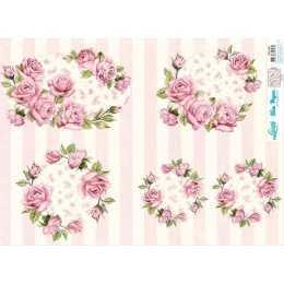 Papel para Decoupage Slim Paper - SPL045 - Rosas em Círculo