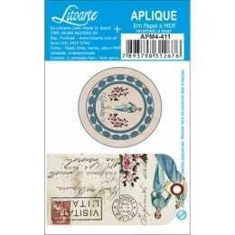Aplique em Papel e MDF - APM4 - 0411 - Etiqueta e Botton