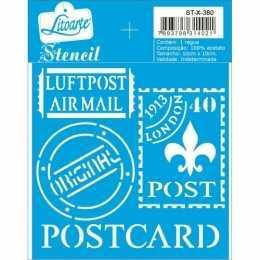 Stencil de Acetato Litoarte 10x10cm - STX380 - Selos Postcard