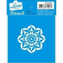 Stencil de Acetato Litoarte 10x10cm - STX384 - Mandala Mini