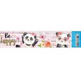 Barra Adesiva para Decoupage BDAIV818 - Urso Panda Fundo Rosa