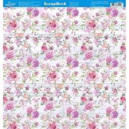 Folha para Scrapbook Dupla Face - SD1017 - Rosas