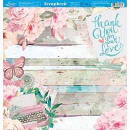 Folha para Scrapbook Dupla Face - SD1095 -Rosas, Máquina de Escrever e Frase