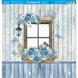 Folha para Scrapbook Dupla Face - SD1066 -Janela no Fundo Azulado
