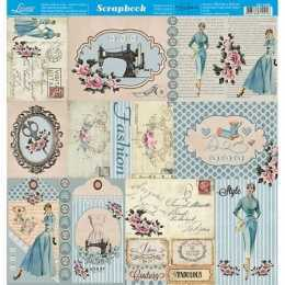 Folha para Scrapbook Dupla Face - SD1065 -Tags de Costura