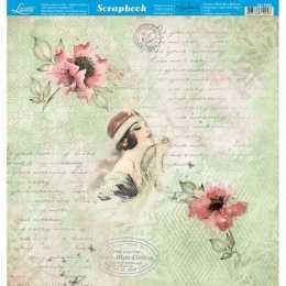 Folha para Scrapbook Dupla Face - SD1055 - Dama e Flores