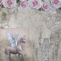 Folha para Scrapbook Dupla Face - SD1044 - Cavalo Alado, Flores e Castelo
