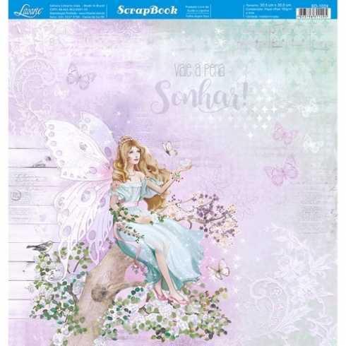 Folha para Scrapbook Dupla Face - SD1024 - Fada Sentada no Tronco