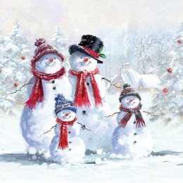 Guardanapo Quatro Bonecos de Neve com Chapéu