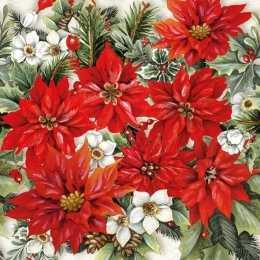 Guardanapo  Poinsétia Vermelha e Branca (977)