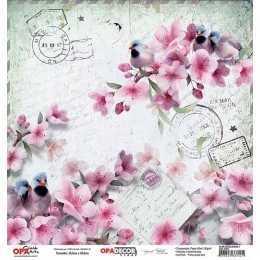 Folha para Scrapbook Dupla Face - OPA2794 - Flor Cerejeiras 1