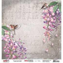 Folha para Scrapbook Dupla Face - OPA2646 - Flor Glicínias 1