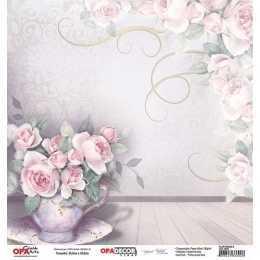 Folha para Scrapbook Dupla Face - OPA2654 - Flor Rosas 6