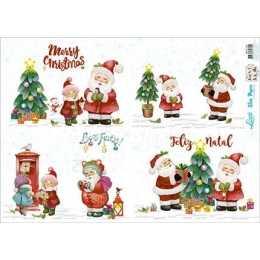 Papel para Decoupage Slim Paper - SPLN006 - Papai Noel e Enfeites de Natal