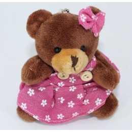 Miniatura de Pelúcia - 09cm - Urso Marrom Sentado Vestido Rosa