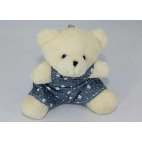 Miniatura de Pelúcia - 10cm - Urso Marfim Sentado Macacao Azul