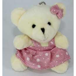 Miniatura de Pelúcia - 10cm - Urso Marfim Sentado Vestido Rosa