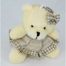 Miniatura de Pelúcia - 09cm - Urso Marfim Sentado Vestido Crú