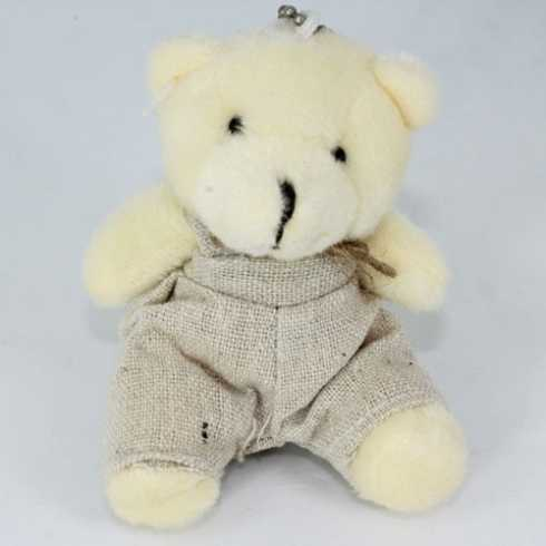 Miniatura de Pelúcia - 09cm - Urso Marfim Sentado Macacao Crú