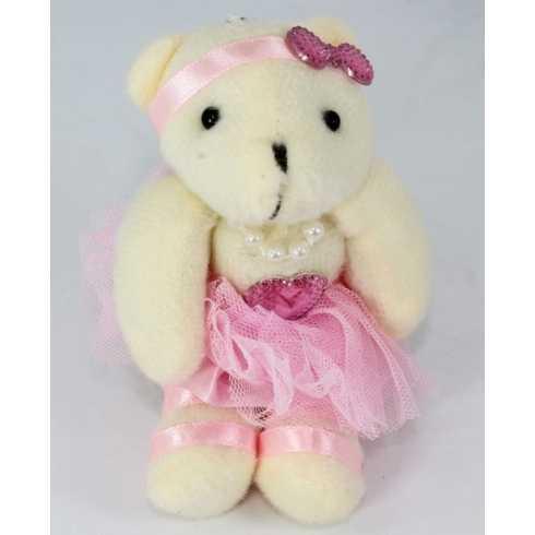 Miniatura de Pelúcia -14cm - Urso Marfim Bailarina em Pé
