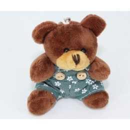 Miniatura de Pelúcia - 09cm - Urso Marfim Sentado Macacao Azul