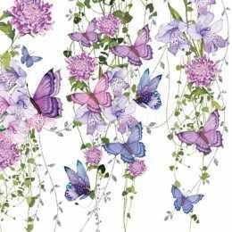 Guardanapo Borboletas e Flores Liláses e Fucsia (872)