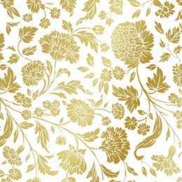 Guardanapo Flores Ouro em Relevo Fundo Branco (008)