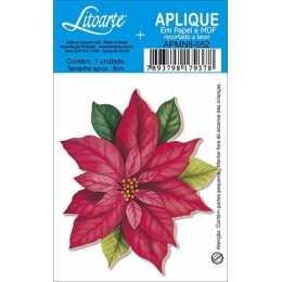Aplique em Papel e MDF - APMN8-052-Flor Poinsetia- 1 unidade