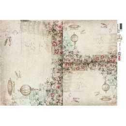 Papel para Decoupage-Opapel 2814-Flor Rosas e Balões