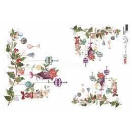 Papel para Decoupage-Opapel 2810-Enfeite de Natal