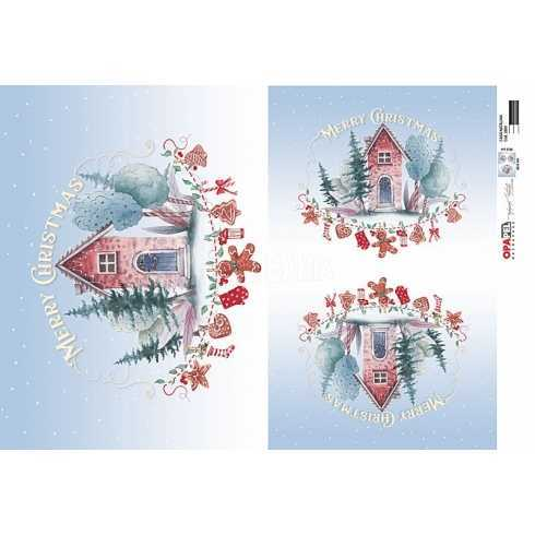 Papel para Decoupage-Opapel 2809-Casa Natalina