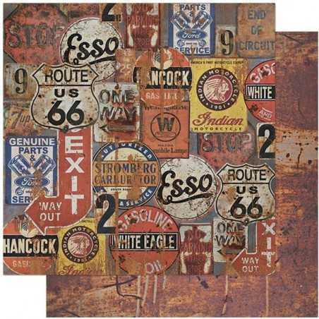 Folha para Scrapbook Dupla Face - SD1111 - Placas Envelhecidas