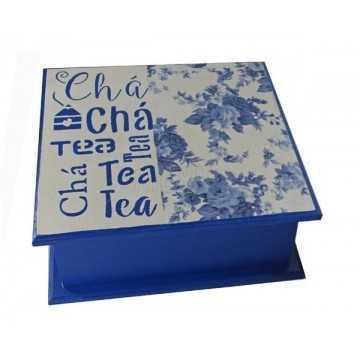 Caixa de Chá 4 Divisões - Azul