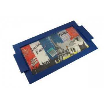 Bandeja Azul com Vidro Líquido