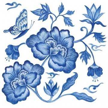 Guardanapo Peonia Azul com...